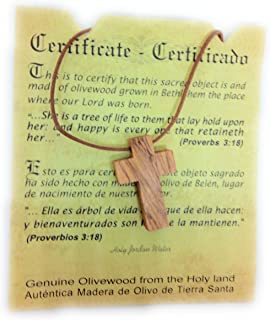 Olive Wood Pendant   Small Cross Design   Top Quality   Handcrafted in the Holyland   Certificate of Origin   Genuine Product HJW