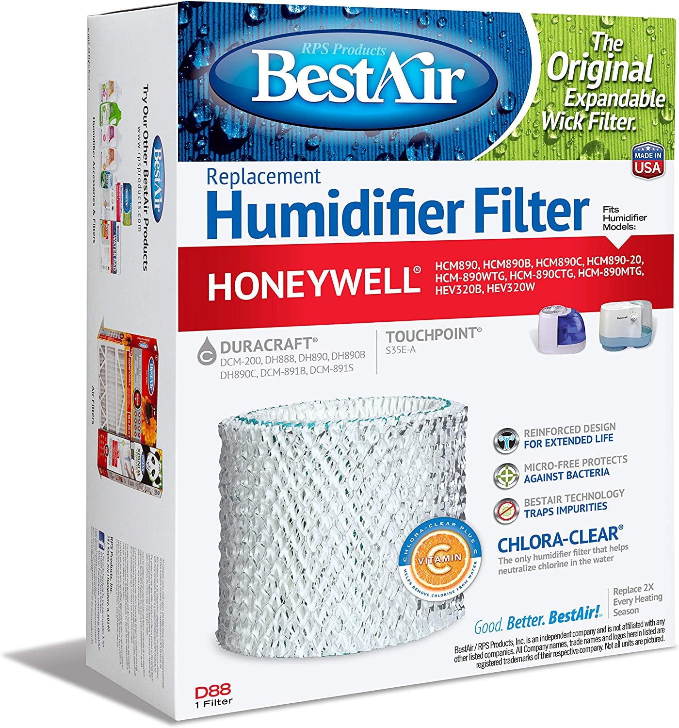 Max 60% OFF BestAir D88 Extended Complete Free Shipping Life Humidifier Wick Paper Replacement Humi