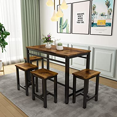 5 Pcs Dining Table Set, Modern Bar Table Set with 4 Chairs, Home Kitchen Breakfast Table and Chairs Set Ideal for Pub, Living