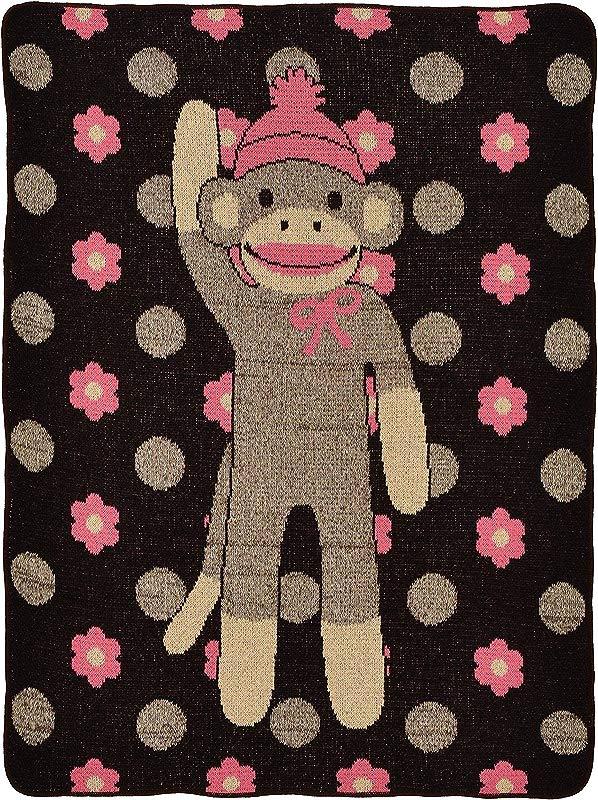 Green 3 Flower Sock Monkey Jr Throw Pink Chocolate Linen