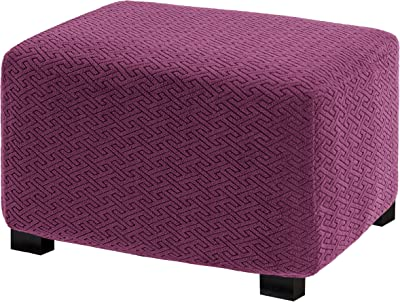 UFOTEX Ottoman Cover Stretch Folding Storage Stool Slipcover Furniture Protector Soft with Elastic Bottom M Wine Red
