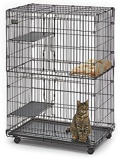 قفص القطط من ميدويست يحتوي على 3 منصات للراحة قابلة للتعديل، قاعدة قابلة للازالة مانعة للتسرب، 2 باب علوي/ سفلي سهل الوصول...