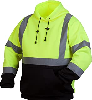 Pyramex RSSH3210XL Hi-Vis Lime SAFETY Pullover Sweatshirt with Black Bottom, Extra Large, Green