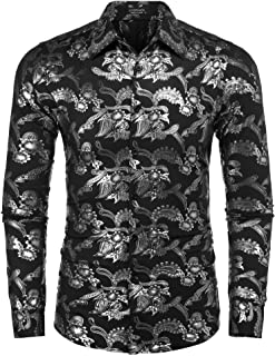 Men's Luxury Design Shirt Paisley Print Long Sleeve Slim Fit Button Down Shirts