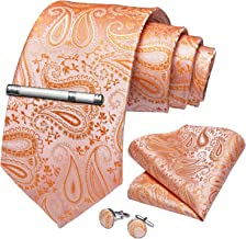 DiBanGu Paisley Tie and Pocket Square Men's Woven Necktie Silk Handkerchief and Cufflink Set