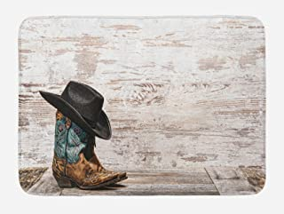 Ambesonne Western Bath Mat, Traditional Rodeo Cowboy Hat and Cowgirl Boots Retro Grunge Background Art Photo, Plush Bathroom Decor Mat with Non Slip Backing, 29.5