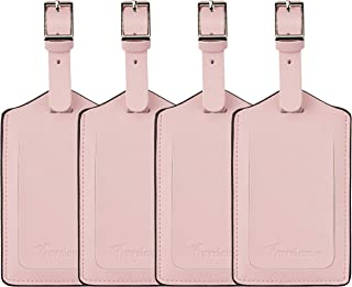 4 Pack Leather Luggage Travel Bag Tags by Travelambo Pink
