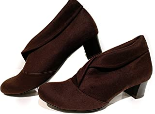 Hype Latest Collection, Comfortable & Fashionable Bellies, Designer Bellies with Block Heel for Women's & Girls.(Suede Leather)