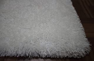 LA Solid Plush Pile Shaggy Shag Firm Flokati Fuzzy Furry Style Fashion Machine Made 5-Feet-by-7-Feet Polyester Made Area Rug Carpet Rug Pure White