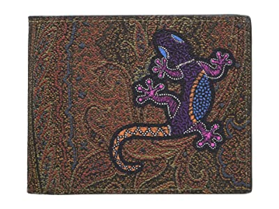 Etro Gecko Paisley Bifold Wallet (Light Red) Bi-fold Wallet