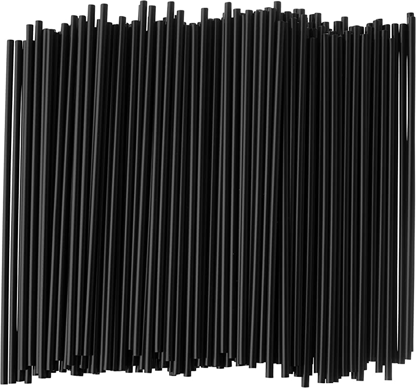Crystalware Large Plastic Stir Straw Sip Stirrer For Coffee And Cocktail 8 Inches Long 500 Box Black