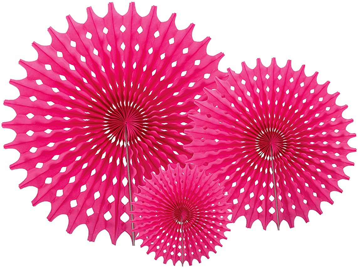 Party Partners Hanging Honeycomb Tissue Fan, Pink, Set of 3
