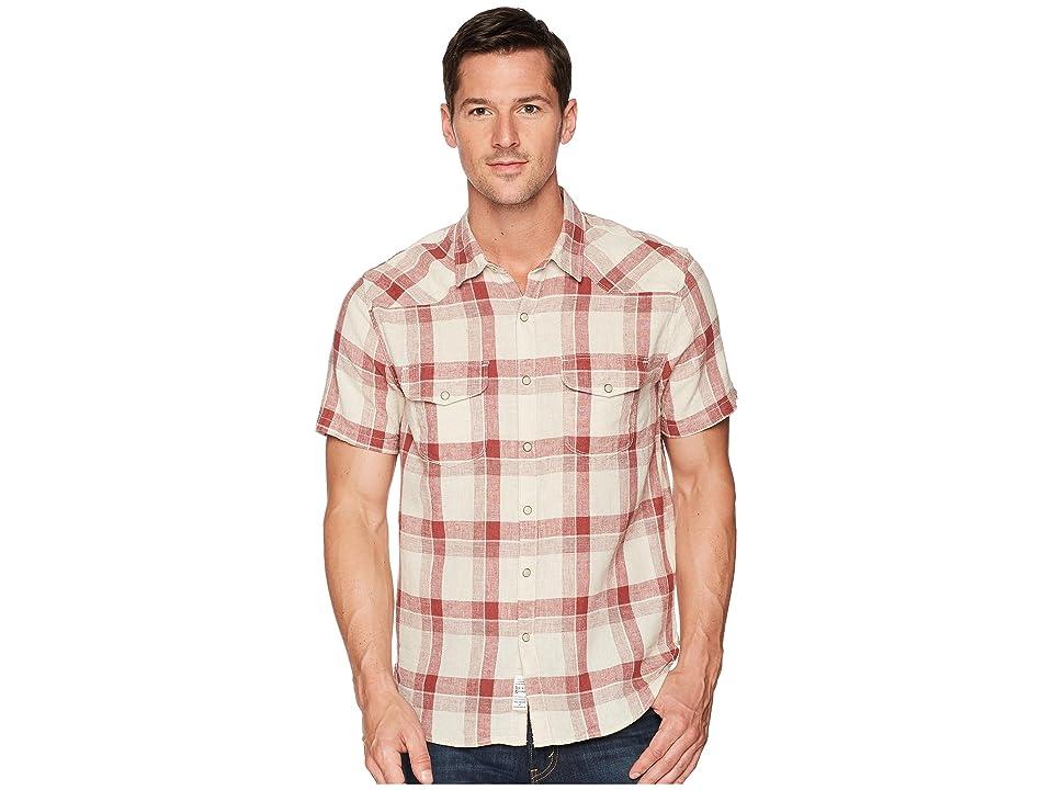 Lucky Brand Short Sleeve Santa Fe Western Shirt (Burgundy/Natural) Men