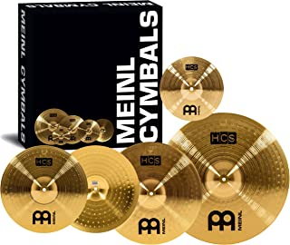 """Meinl Cymbal Set Box Pack with 14"""" Hihats, 20"""" Ride, 16"""" Crash, Plus a FREE 10"""" Splash – HCS Traditional Finish Brass – Made In Germany, 2-YEAR WARRANTY (HCS141620+10)"""