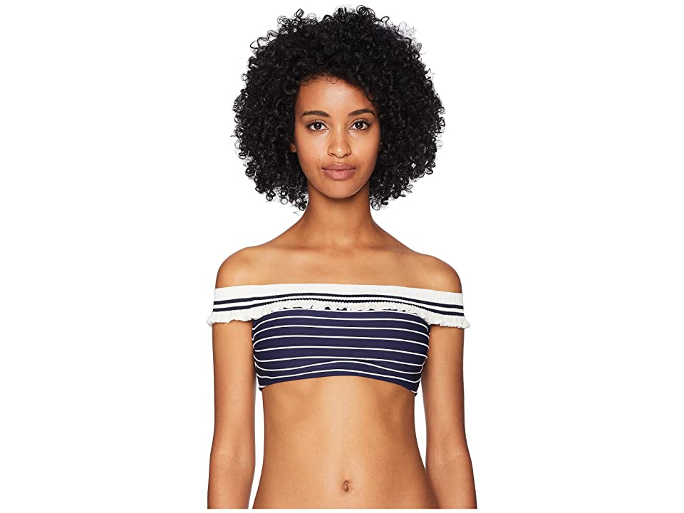 Jonathan Simkhai Rib Knit Trim Off Shoulder Bikini Top (Midnight Combo) Women