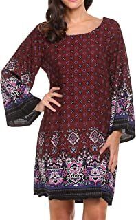 Hotouch Women Bohemian Boat Neck Vintage Printed Ethnic Style Summer Shift Dress Plus Size M-3XL