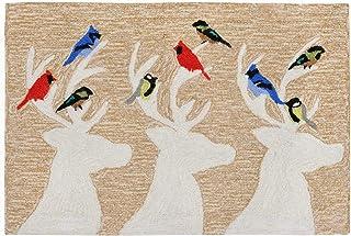 "Liora Manne Front Porch Deer & Friends Natural Indoor/Outdoor Rug, 20"" X 30"", Black"