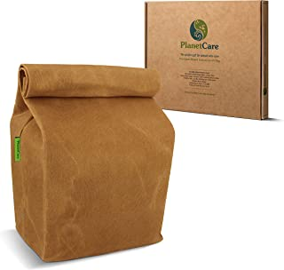 PlanetCare PREMIUM Waxed Canvas Lunch Bag: ECO-FRIENDLY lunch bag for kids, men and women: DURABLE, 16 oz canvas, 100% BIODEGRADABLE, plastic free, sustainable REUSABLE food storage: CLASSIC design
