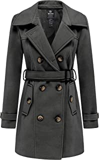 Women's Double Breasted Pea Coat Winter Trench Jacket with Belt