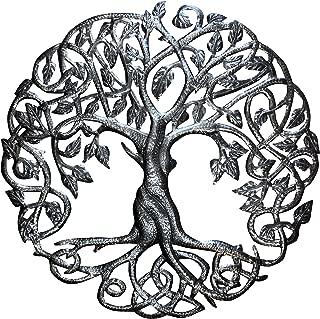 Old Duga - Haitian Metal Drum Art - 23 inch Celtic Tree of Life - Natural