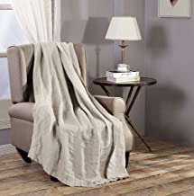 """Chezmoi Collection Brussels Super Soft Lightweight Pre-Washed Belgian Flax Linen Reversible Throw Blanket, 50"""" x 70"""" - Nat..."""