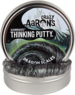 "Crazy Aaron's Glow in The Dark Thinking Putty, Dragon Scales, 4"" Large Tin - GlowBrights Putty Never Dries Out - 3.2 oz"