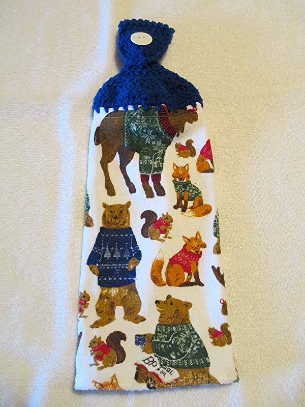 Crocheted Forest Animals Kitchen Towel With Blue Yarn