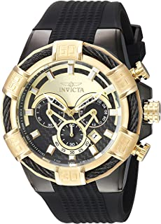 Men's Stainless Steel Quartz Watch with Silicone Strap, Black, 28 (Model: 24699)