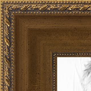 ArtToFrames 24x30 inch Muted Gold with Metallic Detailing Wood Picture Frame, WOMD5026-24x30