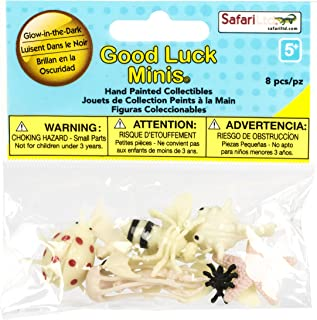 Safari Ltd Good Luck Minis Glow-in-the-Dark Fun Pack – Includes (8) Realistic Hand Painted Miniature Toy Figurine Models – Pufferfish, Starfish, Ladybug, Jellyfish, Bat, Ant, Bumblebee, and Butterfly – For Ages 5 and Up