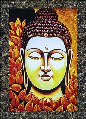 Indianara Set of 3 Gautam Buddha Framed Art Painting (3593MGY) without glass 6 X 13, 10.2 X 13, 6 X 13 INCH