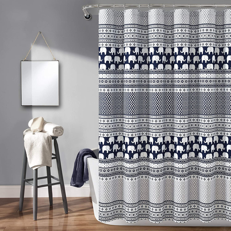 Lush Decor Elephant Stripe Shower Fabric Geometric Nippon regular agency Ani Mail order - Curtain