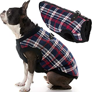 Gooby - Fashion Vest, Small Dog Sweater Bomber Jacket Coat with Stretchable Chest, White Check, X-Large
