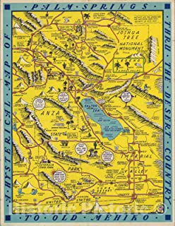 Historic Map - A Hysterical map of Palm Springs thru the desert country to old Mehiko, 1948 - Vintage Wall Art - 44in x 57in