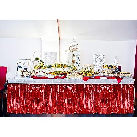 3 Pack Metallic Red Foil Fringe Table Skirt