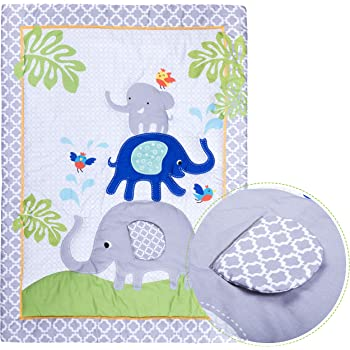 Humble Home Products 100% Cotton Premium Nursery Bedding: 6 Piece Baby Boy/Girl Elephant Crib Set