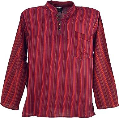 Nepal Fischer Camisa Rayas Goa hippie Camisa Azul/männe rhemden