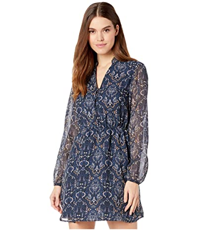 Cupcakes and Cashmere Rocky Baroque Paisley Chiffon Midi Slip Dress (Blue Depths) Women