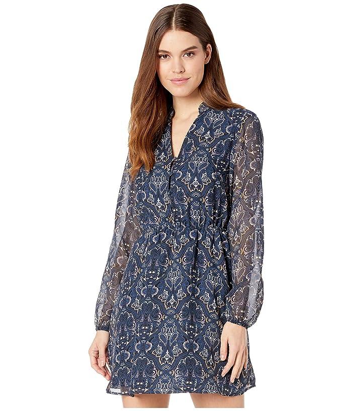 Cupcakes and Cashmere  Rocky Baroque Paisley Chiffon Midi Slip Dress (Blue Depths) Womens Dress