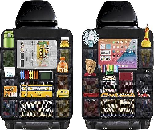 2021 Universal outlet online sale Car Backseat discount Organizer with Clear Tablet Holder, Multi-Pocket Travel Storage Bag, Vehicles Travel Accessories (Black 2 Pack) outlet online sale