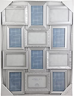 Azzure Home 12 Openings Decorative Wall Hanging Collage Picture Frame - Made to Display Six 5x7/Six 4x6 Photos, 12 sockets, Wall mounting Selfie Gallery Collage - Silver