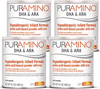 Puramino Hypoallergenic Baby Formula Powder for Severe Food Allergies, 14.1 ounce (Pack of 4) - Omega 3 DHA, Probiotics, Iron, Immune Support