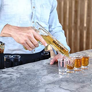Whiskey Decanter and Glass Set, 2 Unique Gun Decanters for Alcohol, 8 Shot Glasses, Holster and Carry Case- a Fun, Stylish Party and Wedding Decanter Set/Whiskey Set