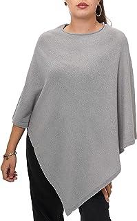Fantasie Terrene Poncho Cashmere Donna, Fatto a Maglia in Filato Misto Cashmere di Alta qualità. Made in Italy. Colore Grigio