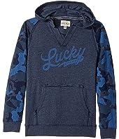 Lucky Brand Kids - Long Sleeve V-Neck Camo Hoodie (Big Kids)