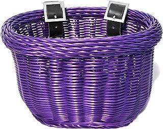 Colorbasket 01617 Front Handle Bar Kids Bike Basket, All Weather, Water Resistant, Adjustable Leather Straps, Food-Contact Safe, Purple