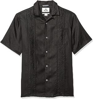 28 Palms Men's Relaxed-Fit Short-Sleeve 100% Linen Embroidered Guayabera Shirt