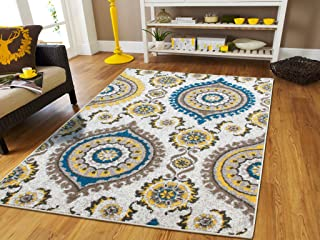New Modern Floor Rugs for Living Room Large Area Rugs Blue Gray Cream Modern Flowers 8x11 Abstract Carpet with Circles Diamond Shape 8x10 Area Rugs Clearance, 8x11 Rug