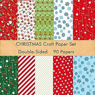 FEPITO 90 feuilles de modèle de papier de Noël ensemble, papier décoratif de 14 x 21 cm pour carte de scrapbooking bricola...