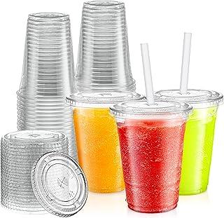 مجموعة من 100 كوب بلاستيكي باغطية من [زيمل]، لعصائر سموذي وميلك شيك - بسعة 16 اونصة